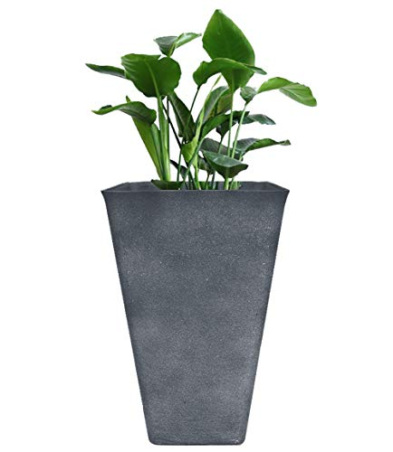 Tall Planter 26quot Large Flower Pot Patio Deck Indoor Outdoor Garden Tree Resin Planters Gray