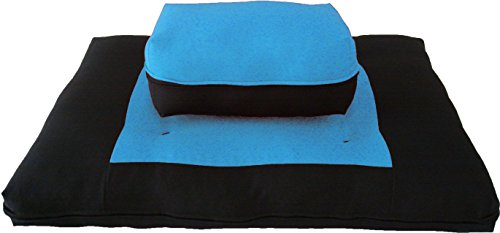 Brand New Black/Turquoise Zabuton Zafu Set, Yoga, Meditation Seat Cushions, Kneeling, Sitting, Supporting Exercise Pratice Zabuton & Zafu Cushions.