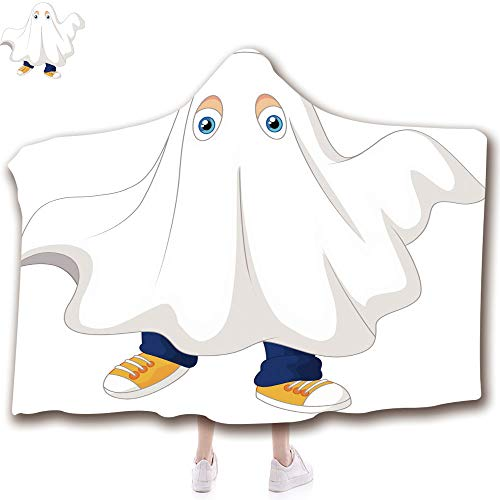 (Wearable Hooded Blanket Fashion 3D Printed Design Flannel Blanket with Hood Adults Kids (43