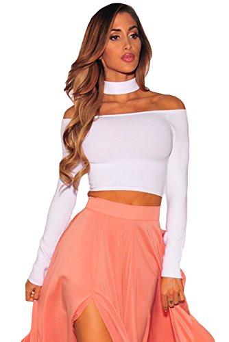 2016Mujeres de otoño de ropa langärmelige vía hombro Choker Crop Top Mujeres Noche Club Fiesta Tops Short Mini Crop Tops Mujer Camisetas blanco