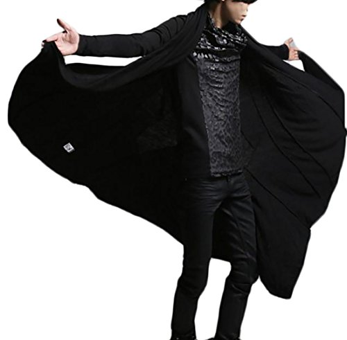 Pandapang Mens Classic Open Front Cardigan Outwear Long Cape Poncho Trench Coat Black L