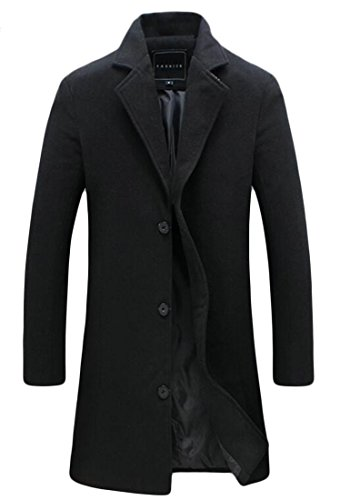 SELX-Men Autumn Lapel Single Breasted Mid Length Pea Coat Overcoat Black US XL