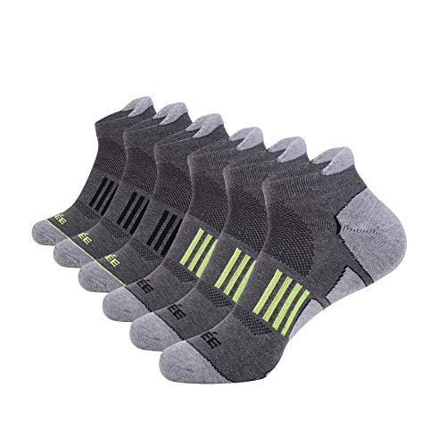 JOYNÉE Men's 6 Pack Athletic No Show Performance Comfort Cushioned Low Cut Running Tab Socks,Grey,Sock Size:10-13