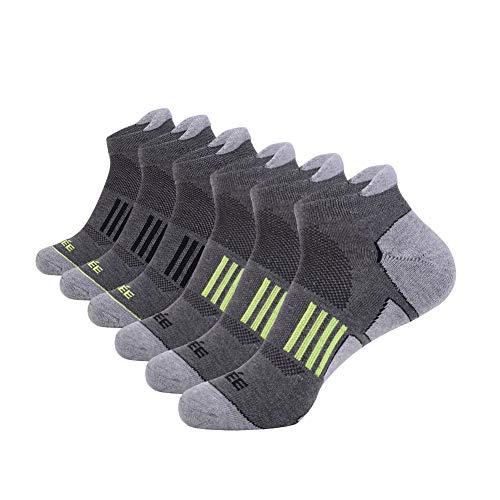 JOYNÉE Men's 6 Pack Athletic No Show Performance Comfort Cushioned Low Cut Running Tab Socks