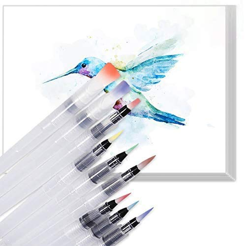 Selizo 9 Pcs Water Brush Pens with 20 Sheets Watercolor Textured Paper Pad for Travel Painting Watercolor Pencils Powdered Pigment
