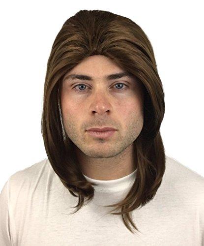 Premium Brown Rocker Wig: Classic Rockstar Wig 90s 80s 70s Rock Wigs for Men Women Kids Adults 1970s Kid's Rocker Costumes Theme Party Mens Wigs Rock Star Wig Halloween Men's Wigs Rockstar Costume Wig