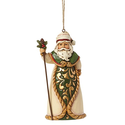 (Jim Shore for Enesco Heartwood Creek Green/Ivory Santa Ornament, 5-Inch)