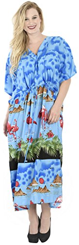 La Leela flamingo doux tout en bikini dames couvrir casual robe de soirée taille plus dressing nuisette loungewear soirée profonde long cou lâche kimono robe maxi robe caftan bleu