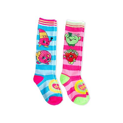 Shopkins Girls' Knee Highs Socks - 2 Pack (7-9) (Knee Socks Girls)