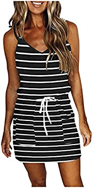 Summer Dress for Women, Casual V-Neck Loose High Waisted Printed Spaghetti Strap Dresses for Beach Party Casua