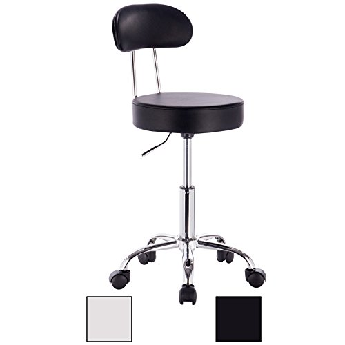 "WOLTU ABSX1008blk-c 1x Faux Leather Adjustable Swivel Chair Stool with Backrest and Casters Hydraulic Gas Lift Office/Lab/Medical/Spa/Massage/Beauty/Pub Stool Seat Height:18.5""-23.2"",Black"