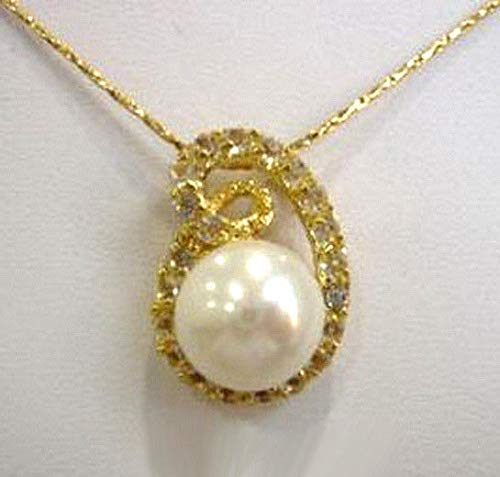 Real White Pearl 18KGP Crystal Pendant and Necklace