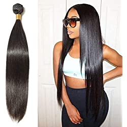 22 Inch Long Straight Remy Human Hair 1 Bundle/100g Unprocessed Virgin Indian Hair Weave Extensions for Afro American Women Natural Black #1B
