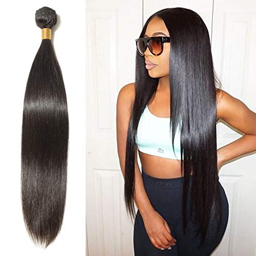 30 Inch Remy Human Hair Unprocessed Virgin Indian Hair Weave Extensions Long Straight for Afro American Women Natural Black #1B 1 Bundle/100g