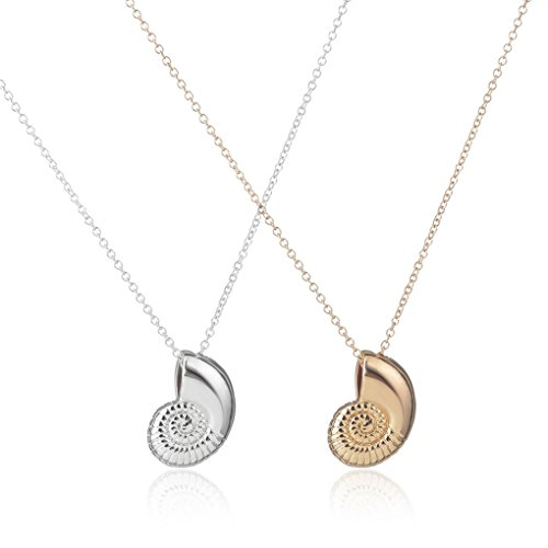 Us-DeSiGn : Gold Seashell Necklace Ariel Voice Shell Necklace Spiral Swirl Sea Snail Necklace for Women (Shell Swirl Necklace)
