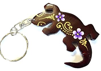 Porte clé clef salamandre gecko margouillat Bois Artisanal Fleur wooden key  holder cle 1bfcba1561f