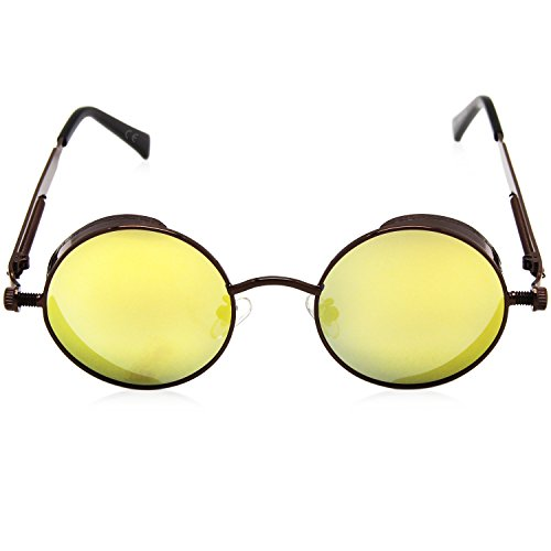 redondo Amarillo amztm de mujeres pequeño sol reflectante para gafas efecto lente y hombres polarizadas amp; las Espejo T8Tqwan