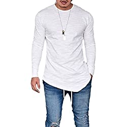 Pxmoda Men's Long Sleeve Hipster Hip Hop Basic Curved Hem T Shirt (M, White)