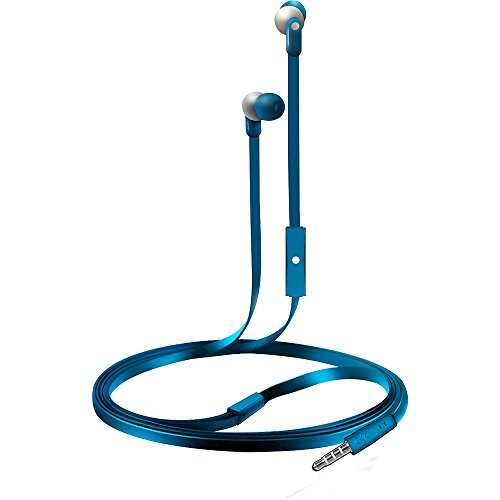 - Coby CVE-110-BLU Wave Tangle-Free Flat Cable Stereo Earbuds with Mic, Blue