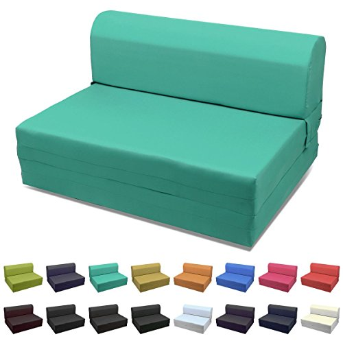 Magshion Futon Furniture Sleeper Chair Folding Foam Bed Choose Color & Sized Single,Twin or Full (Twin (5x36x70), Teal Green)