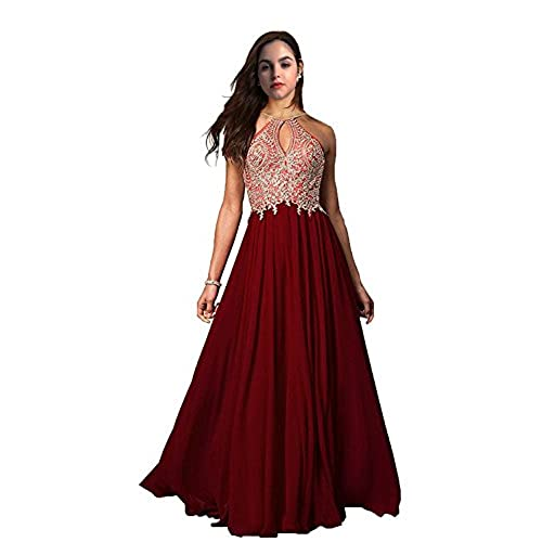 FeliciaDress Prom Dresses Halter Chiffon Applique Long Women Formal Evening Gowns 2018 FD023