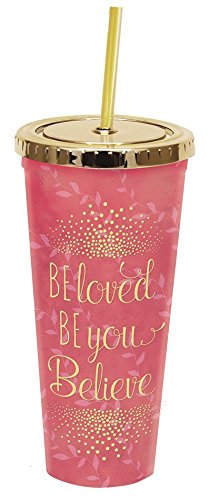 Divinity Boutique 24924 Gold Lid Straw Cup Pink Be Loved, Be You, Believe, Multicolor from Divinity Boutique