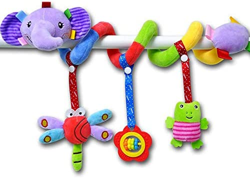 Aroland Baby Pram Toys Spiral Activity Hanging Toys Stroller Toy Car Seat Bed Hanging Toys with Ringing Bell for 0-6 Months Baby Girls Boys Dog