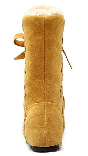 Idifu Mujeres Warm Faux Fur Forrado Heighten Heels Lace Up Botas Tobillo Botines De Nieve Amarillo