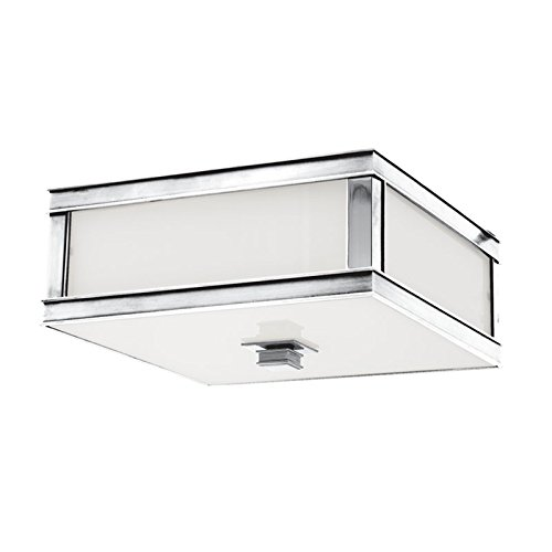 Preston 2-Light Flush Mount - Polished Nickel Finish with Clear/Frosted Glass Shade - Hudson Valley Ceiling Fan