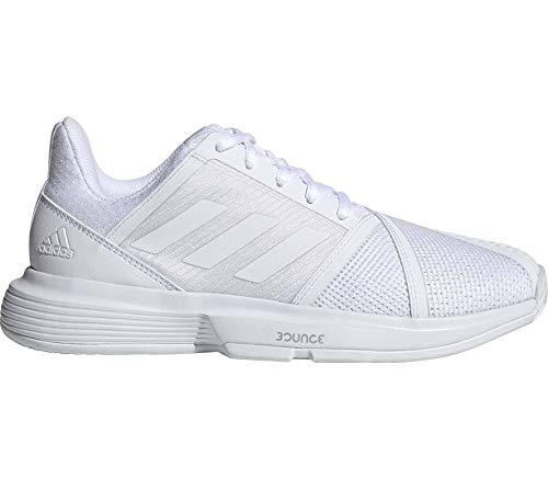 adidas Women's CourtJam Bounce Tennis Shoe, White/Matte Silver, 8 M US