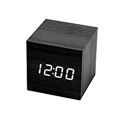 Cube Alarm Clock Modern Bedrooms Table, Black LED Light Digital Wooden Atomaic Battery Operated for Kids and Adults, Fun Square Design Timer with Numbers Decoration with USB by BOYON