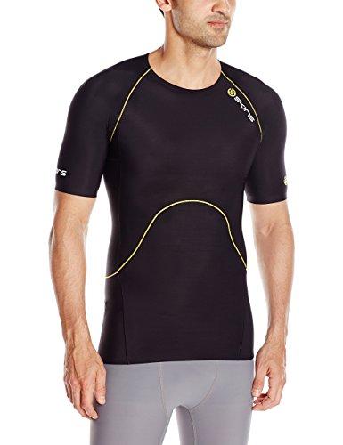 Skins Men's A400 Compression Short Sleeve Top, Black/Yellow Logo Line, Large