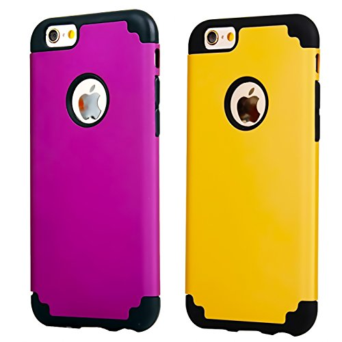 (iPhone 6/6s Plus Case,[2 Pack] iBarbe slim fit Rubber PC Shockproof Heavy Duty Protection Case with soft Inner Protection Reinforced Hard Bumper for Apple iPhone 6 6s Plus (5.5 inch) phone-gold+purple)