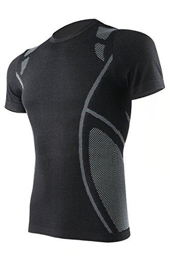 +MD Men's Moisture-Wicking Short Sleeve T-Shirt Running Fitness Workout Base Layer Shirt BlackXL