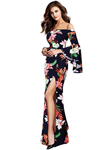 VFSHOW Womens Navy Blue Floral Print Off Shoulder Bell Sleeve Formal Evening Wedding Maxi Dress 2221 BLU 3XL