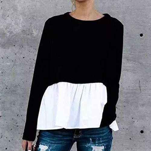 Shirt AIMEE7 Shirt Haut T Sweat Lache Noir Longues Femme d'pissure Casual Manches Tops nSqfCxwg