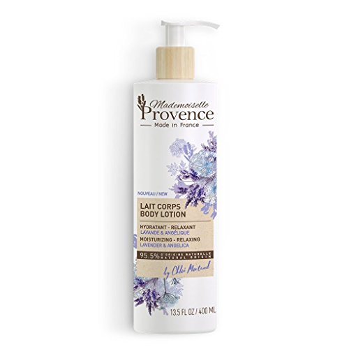 Natural Lavender Moisturizer Body Lotion - Mademoiselle Provence - Emollient, Relaxing & Calming Skin Cream - Sunflower Seed Oil & Angelica extracts - 100% Made in France - 13.5 Fl (Angelica Moisturizing Moisturizer)