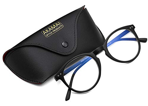 Akamai Blue Light Blocking Glasses - Mens & Womens Computer Screen Bluelight Protection - Anti UV Glare - Hatteras Model (+2.5, Black)