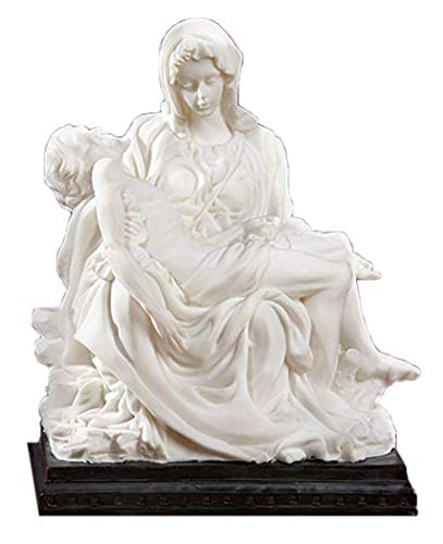 (Mother Madonna with Jesus Christ Michelangelo's Pieta 8 Inch White Resin Statue Figurine)