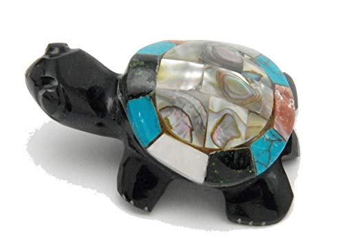Fundamental Rockhound Products: Black Obsidian Turtle with Multi Mineral Abalone Shell Hand Carved Mosaic Inlay