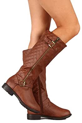 Amazon.com | Top Moda Buckle Riding Knee High Boot Tmpack