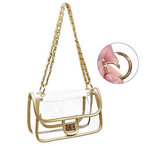 8632aa1594fd Laynos Clear Purse Turn Lock NFL Approved Chain Crossbody Shoulder Bags  Handbags