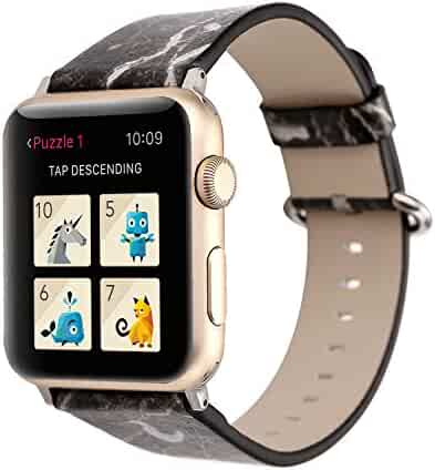 Watch Band 38mm 42mm 40mm 44mm Marble Texture Leather Watch Strap Replacement for iWatch Series 4 3 2 1 Nike+