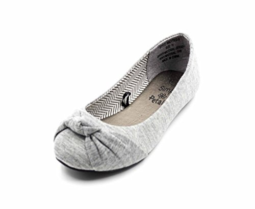 Simply Petals Casual Slip On Knotted Ballerina Flat (Toddler/Little Girl) New in Grey Size: 1 Little Kid (Flats For Girls)