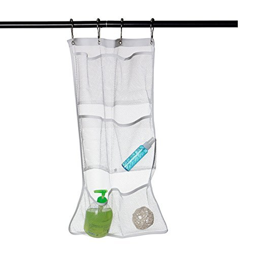 olibay hanging mesh pockets shower organizer with 6-pocket, 4 rings, can hold 340oz/1000ml shampoo