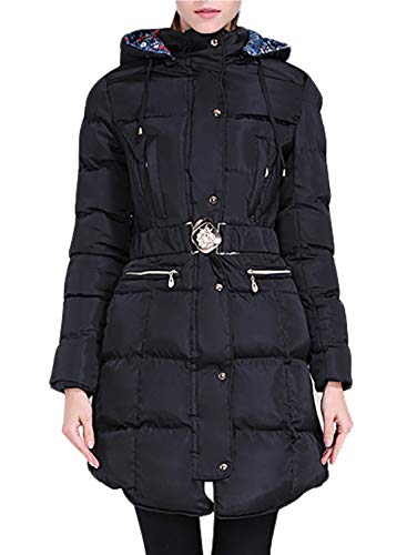 Happy Sailed Women Down Alternative Quilted Longline Hooded Coat Puffer Jacket with Belt Large Black