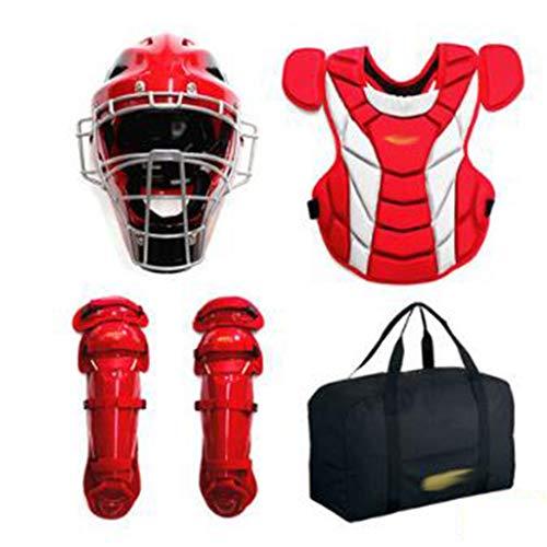 One Piece Catchers Helmet - HJzmh Baseball Protective Gear Juvenile/Adult Hard Catcher Protective Gear Set (Color : E)