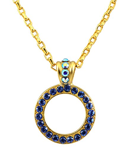 Mariana Gold Plated Swarovski Crystal Circle Pendant Necklace in Blue Crystal