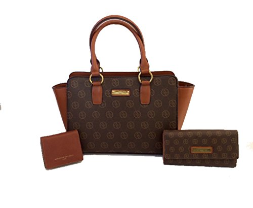 3PC SET! Adrienne Vittadini Signature Collection Satchel, Medium Wallet & Mini Fold Out Wallet