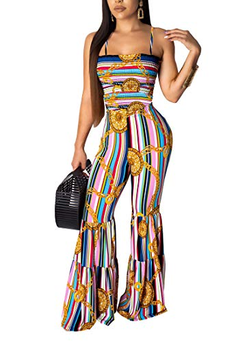 - One Piece Jumpsuits Rompers for Women. Sleeveless Off Shoulder Boho Striped Bandage Bell Flare Pants Bodysuit Blue L